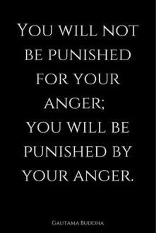 you will not be punished for your anger; you will be punished by your anger
