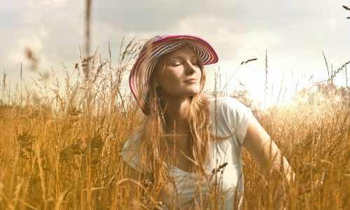 free woman in field
