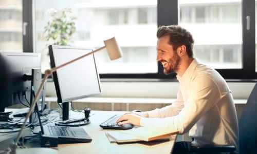 man at desk, working