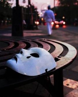 Mask on a bench