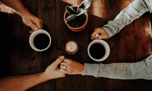 couple, hands, coffee, candle