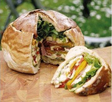 Picnic ham and salad filled cob