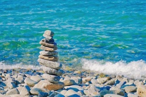 A stack of rocks on a beach
