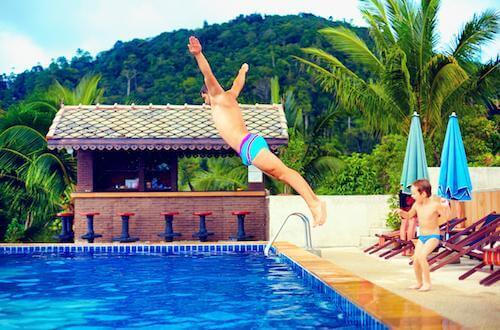 Man doing a belly flop