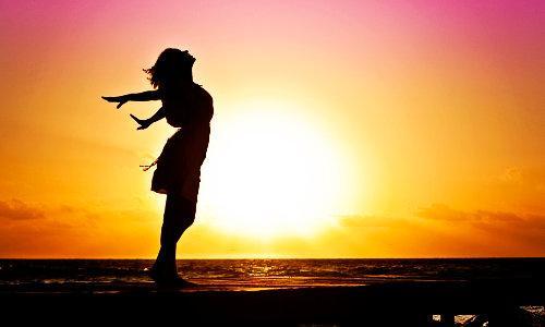 Woman, joyful, sun rise