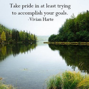 Take pride in at least trying to accomplish your goals.