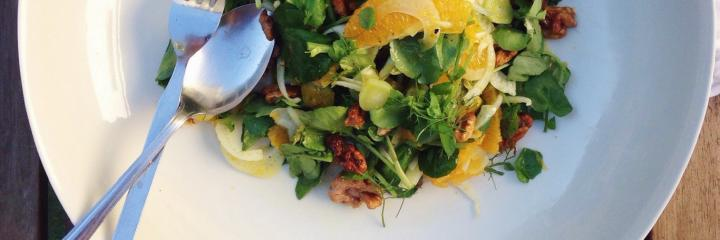 Orange, Mint, Fennel and Walnut Salad